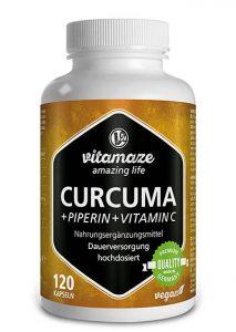 Cápsulas de cúrcuma + curcumina piperina altamente concentrada + vitamina C